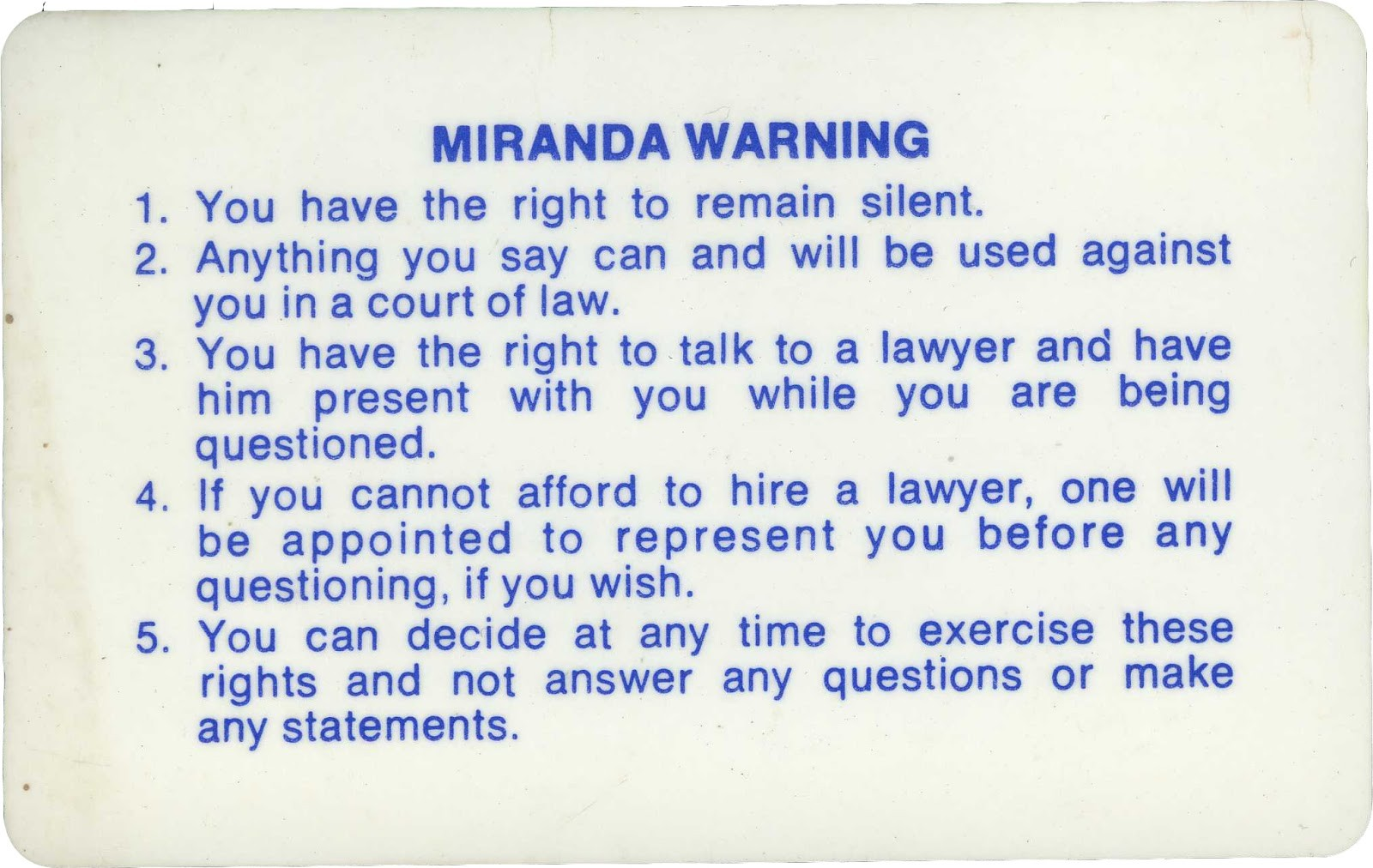 the miranda warning essay example Miranda warnings refer to the rights that an accused person must be advised of before his or her interrogation by law enforcement the miranda warnings havread.