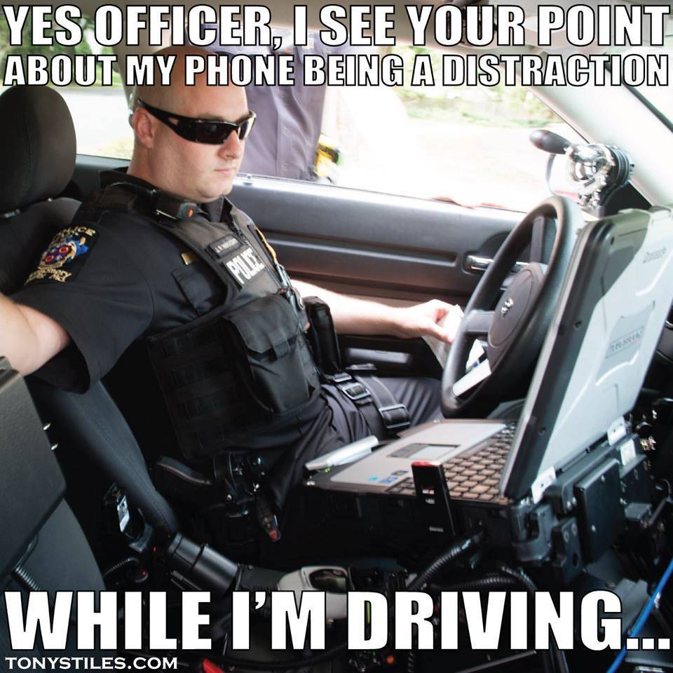 distracted officer