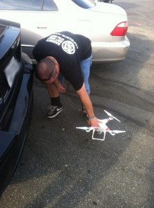 Tom setting up the drone