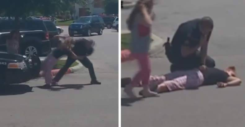 Cop-Knocks-Woman-Unconcsious-in-front-of-6-Year-Old-Daughter