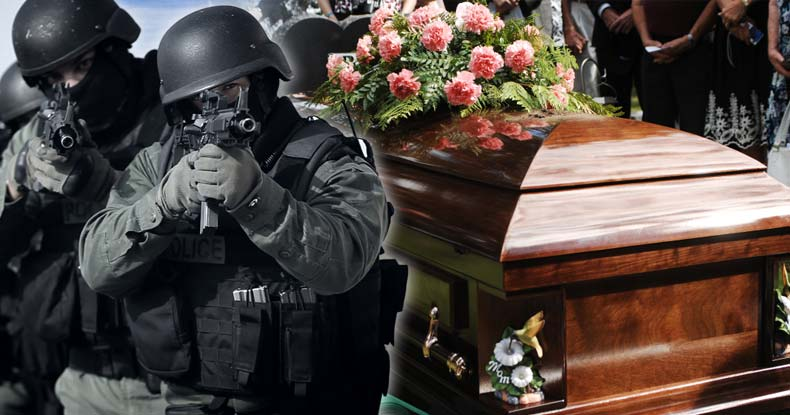 police kill man funeral