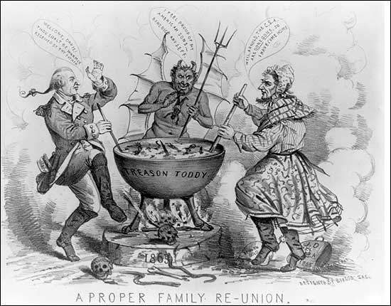 Benedict Arnold's treason created a timeless villain in the American imagination. This 1865 political cartoon shows Arnold keeping company with the devil and Jefferson Davis.