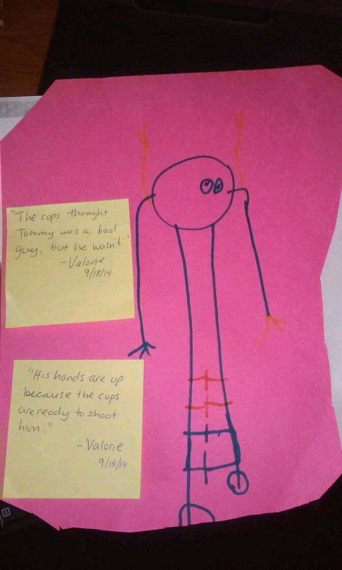 """""""My 4 year old came home today with this drawing the teachers noted what she said the drawing was about. Why are the cops who did this getting leave from work and therapy but yet my family has to suffer? ???? This is crap! Bring Tommy back to us!!!"""" reads the post on the Justice for Tommy Facebook Page"""
