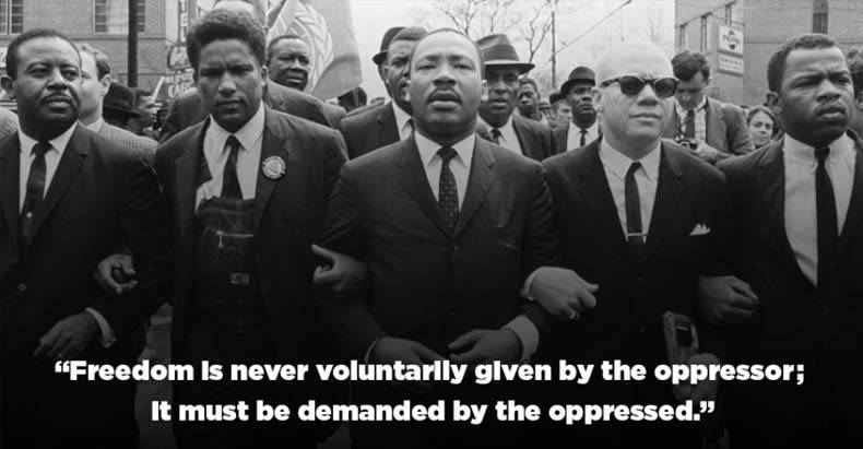 "This photo of civil rights leaders emblazoned with the words of the Martin Luther King, Jr. was sent out this week by the advocacy group ColorofChange with the message: ""Happy Birthday Dr. King. Your legacy of resistance & vision for Black freedom is alive & well."" (Image: ColorofChange.org)"