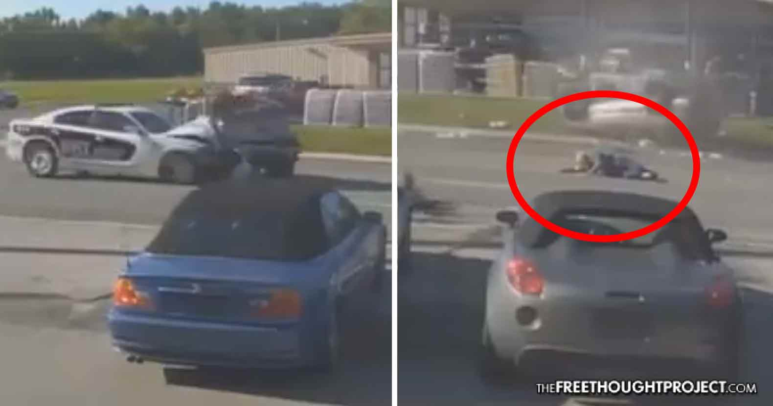 WATCH: Cop Abuses Power, Smashes Into Elderly Couple While Speeding