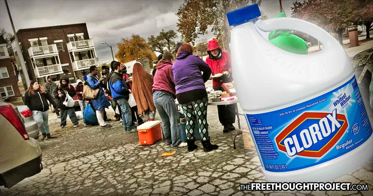 Gov't Denies Homeless People Food by Raiding Charity, Pouring Bleach on Food to Destroy It